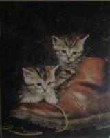 """Животные. """"Два котенка в башмаке"""" (алюм), размер 20х25 - ДЕКАРТ - настоящая багетная мастерская на Московской!"""