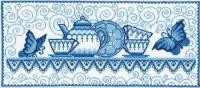 """Набор для выш.""""Гжель (сервиз)"""", 38х16,5см, Чарiвна Мить (Украина) - Багетная мастерская ДЕКАРТ изготовление рам для картин, вышивок, зеркал"""