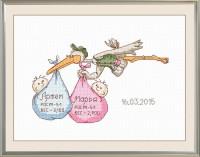 """Набор для выш. """"У Вас двойня"""",р.18х11см, Овен - Багетная мастерская ДЕКАРТ изготовление рам для картин, вышивок, зеркал"""