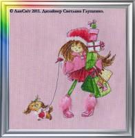 """Набор для выш.""""Две подружки на прогулке"""", Лансвит (Украина) - Багетная мастерская ДЕКАРТ изготовление рам для картин, вышивок, зеркал"""