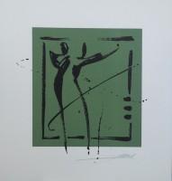 "Постер ""Абстракция. Пара на зеленом"", р.36x33, арт.б/а - ДЕКАРТ - настоящая багетная мастерская на Московской!"