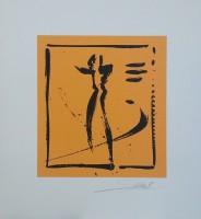 """Постер """"Абстракция. Пара на оранжевом 1"""", р.36x33, арт.б/а - ДЕКАРТ - настоящая багетная мастерская на Московской!"""