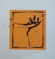 """Постер """"Абстракция. Пара на оранжевом 2"""", р.36x33, арт.б/а - ДЕКАРТ - настоящая багетная мастерская на Московской!"""