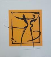 """Постер """"Абстракция. Пара на оранжевом 3"""", р.36x33, арт.б/а - ДЕКАРТ - настоящая багетная мастерская на Московской!"""