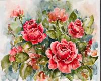 """Постер """"Акварель. Красные розы"""", размер 40х50, арт.G-6462 - ДЕКАРТ - настоящая багетная мастерская на Московской!"""