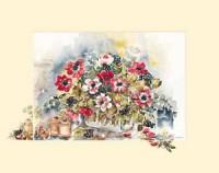 """Постер """"Акварель. Букет и банки"""", размер 40х50, арт.G5336 - ДЕКАРТ - настоящая багетная мастерская на Московской!"""