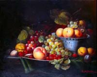 """Натюрморт. """"Виноград и персики"""", размер 40х30 - ДЕКАРТ - настоящая багетная мастерская на Московской!"""
