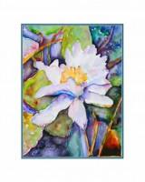 """Постер """"Акварель. Белый цветок"""", размер 40х50, арт.G6125 - ДЕКАРТ - настоящая багетная мастерская на Московской!"""