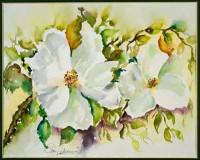 """Постер """"Акварель. Два белых цветка"""", размер 40х50, арт.G 6188 - ДЕКАРТ - настоящая багетная мастерская на Московской!"""