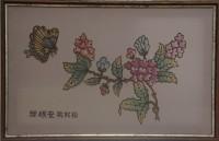 "Батик в раме ""Сакура"", размер 29х46, багет 42.003 - ДЕКАРТ - настоящая багетная мастерская на Московской!"