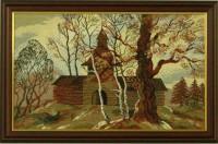 """Гобелен в раме """"Деревянное зодчество"""", размер 31х50,5, багет 601.0156-03 - Багетная мастерская ДЕКАРТ изготовление рам для картин, вышивок, зеркал"""