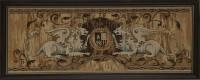 """Гобелен в раме """"Геральдические львы"""", размер 33х90, багет 220 ОАС 100 - Багетная мастерская ДЕКАРТ изготовление рам для картин, вышивок, зеркал"""