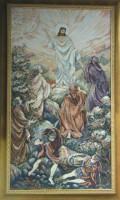 """Гобелен в раме """"Христос .Воскресение"""", размер 78х44, багет 213 ОАС 804 - Багетная мастерская ДЕКАРТ изготовление рам для картин, вышивок, зеркал"""