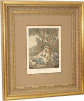 """Постер в раме  """"Гравюра отдых"""", размер 58х47,  багет 1.021.025, кант+ музейное стекло - ДЕКАРТ - настоящая багетная мастерская на Московской!"""