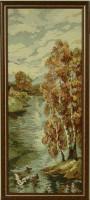 """Гобелен в раме """"Золотая осень"""", размер 78х32  багет 02-08-07 - Багетная мастерская ДЕКАРТ изготовление рам для картин, вышивок, зеркал"""