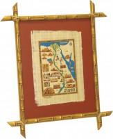"""Папирус в раме """"Карта. Сокровища Нила"""", размер 50х39, багет 511.0212-01 - ДЕКАРТ - настоящая багетная мастерская на Московской!"""