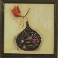 """Постер в раме  """"Красный цветок в черной вазе"""", размер 18х18, багет 513.402.301 - ДЕКАРТ - настоящая багетная мастерская на Московской!"""