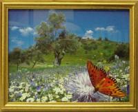 """Постер в раме  """"Бабочка на цветке"""", размер 25х20, багет 628А - ДЕКАРТ - настоящая багетная мастерская на Московской!"""