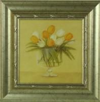 """Постер в раме  """"Белые и оранжевые тюльпаны в вазе"""", размер 23,5х23,5, багет 501.0847-02 - ДЕКАРТ - настоящая багетная мастерская на Московской!"""