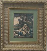 """Постер в раме  """"Гравюра отдых (копия)"""", размер 44х37,  багет 257.234, кант+ музейное стекло - Багетная мастерская ДЕКАРТ изготовление рам для картин, вышивок, зеркал"""