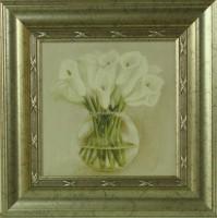 """Постер в раме  """"Каллы в вазе"""", размер 23,5х23,5, багет 501.0847-02 - Багетная мастерская ДЕКАРТ изготовление рам для картин, вышивок, зеркал"""