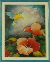 """Постер в раме  """"Колибри в цветах (батик)"""", размер 48х37, багет 513.402.315 - ДЕКАРТ - настоящая багетная мастерская на Московской!"""