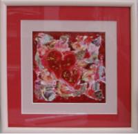 """Постер в раме  """"Коллаж с двумя сердцами"""", размер 24х24, багет 199 ОАС 033Р - Багетная мастерская ДЕКАРТ изготовление рам для картин, вышивок, зеркал"""