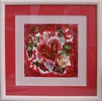 """Постер в раме  """"Коллаж с сердцем"""", размер 24х24, багет 199 ОАС 033Р - ДЕКАРТ - настоящая багетная мастерская на Московской!"""