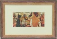 """Постер в раме  """"Кот и девушка"""", размер 24,5х35,5, багет 2291.3966 - ДЕКАРТ - настоящая багетная мастерская на Московской!"""