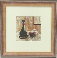 """Постер в раме  """"Кот"""", размер 26,5х26,5, багет 2291.3966 - ДЕКАРТ - настоящая багетная мастерская на Московской!"""
