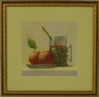 """Постер в раме  """"Натюрморт яблоками и чашкой"""", размер 27,5х27,5, багет 125 ОАС 112 - ДЕКАРТ - настоящая багетная мастерская на Московской!"""