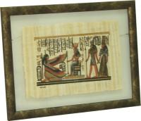 """Папирус в раме """"Фараон и слуги"""", размер 28х38, багет 122 бронз - ДЕКАРТ - настоящая багетная мастерская на Московской!"""