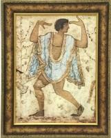 """Постер в раме  """"История. Этруское искусство. Танцор"""", размер 40х42, багет 304-G2 - ДЕКАРТ - настоящая багетная мастерская на Московской!"""