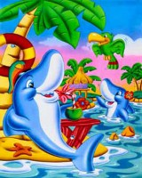 "Детский. ""Акулы на пляже"", размер 20х25 - ДЕКАРТ - настоящая багетная мастерская на Московской!"