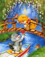 """Детский. """"Кот на лодочке и кошка на мостике"""", размер 20х25 - ДЕКАРТ - настоящая багетная мастерская на Московской!"""