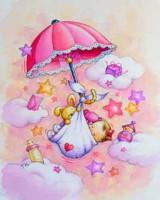 """Детский. """"Розовый зонтик с ребенком и игрушками"""", размер 20х25 - ДЕКАРТ - настоящая багетная мастерская на Московской!"""