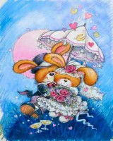 """Детский. """"Зайцы жених и невеста под зонтиком"""", размер 20х25 - ДЕКАРТ - настоящая багетная мастерская на Московской!"""