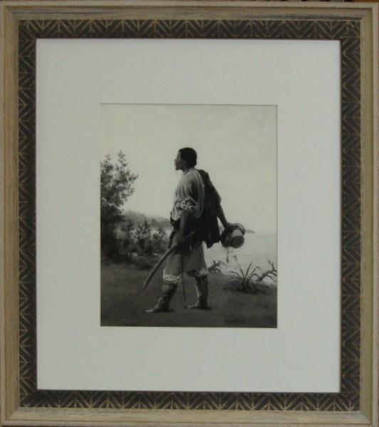 Гравюра Крестьянин, размер 50 х 40 см