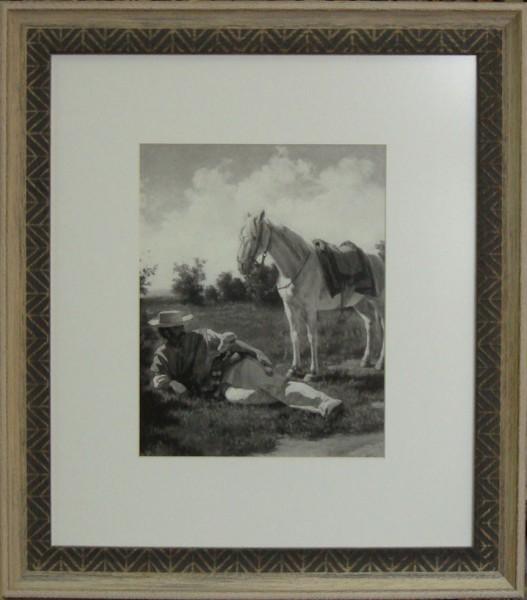 Гравюра Всадник и конь, размер 40 х 50 см